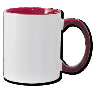 11oz maroon interior handle Photo Mug