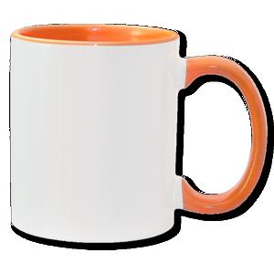 11oz orange interior handle Photo Mug