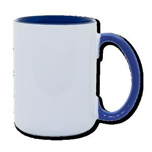 15oz blue interior handle Photo Mug