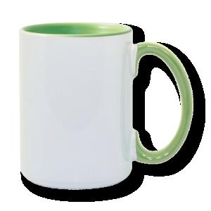 15oz Light Green interior handle Photo Mug