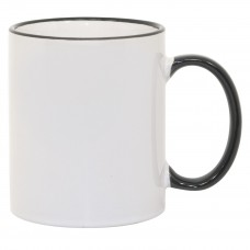 11oz Black Rim Handle Mug