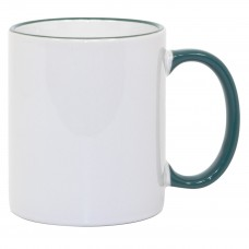 11oz Green Rim Handle Mug