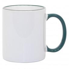 11oz Green Rim Handle Mug