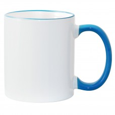 11oz Light Blue Rim Handle Mug