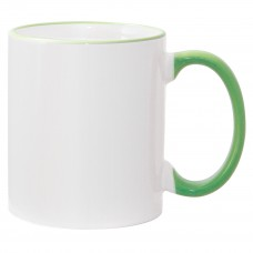 11oz Light Green Rim Handle Mug