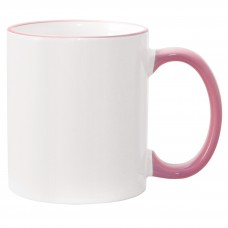 11oz Pink Rim Handle Mug