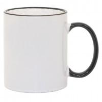 11oz Black Rim Handle Mug