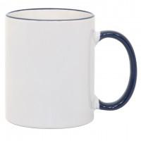 11oz Blue Rim Handle Mug