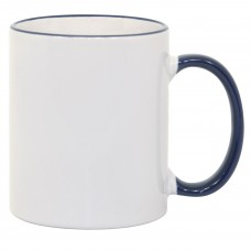 11oz Blue Rim Handle Mug