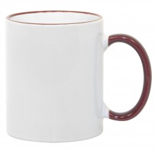 11oz Maroon Rim Handle Mug