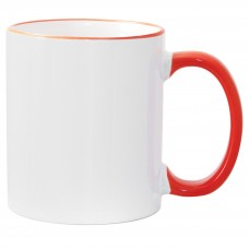 11oz Orange Rim Handle Mug