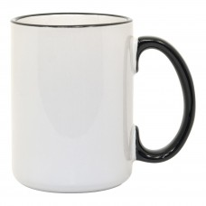 15oz Rim Handle Black Mug