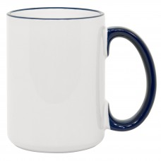 15oz Rim Handle Blue Mug