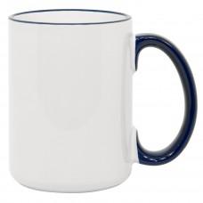 15oz Rim Handle Blue Mug