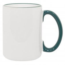 15oz Rim Handle Green Mug