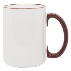 15oz Rim Handle Maroon Mug