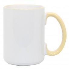 15oz Rim Handle Yellow Mug