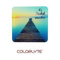 """Glass Coaster - 3.94"""" - Square w/Chinchilla Finish"""