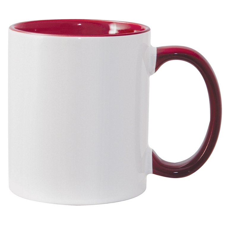 11oz maroon interior handle Photo Mug