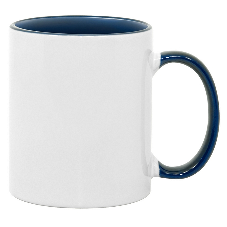 11oz blue interior handle Photo Mug