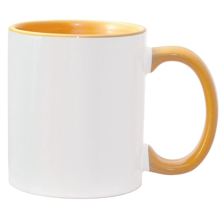 11oz golden yellow interior handle Photo Mug