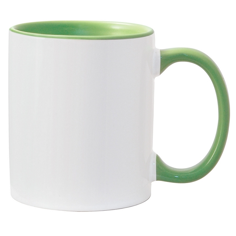 11oz light green interior handle Photo Mug