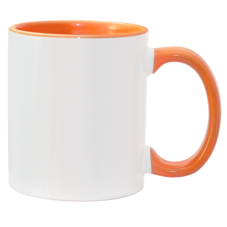 11oz orange interior handle Photo Mug