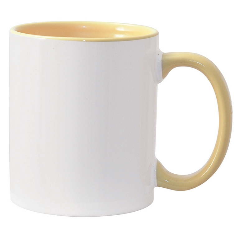 11oz yellow interior handle Photo Mug