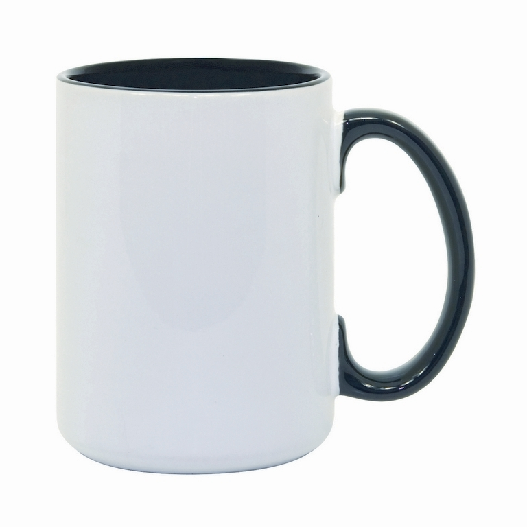 15oz black interior handle Photo Mug