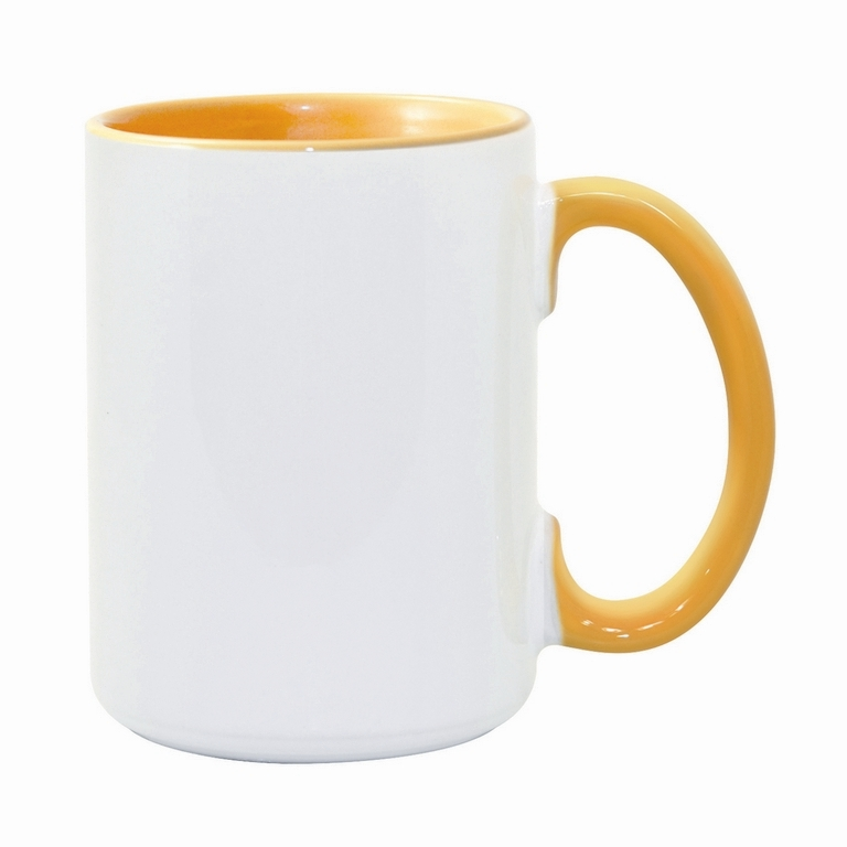 15oz golden yellow interior handle Photo Mug