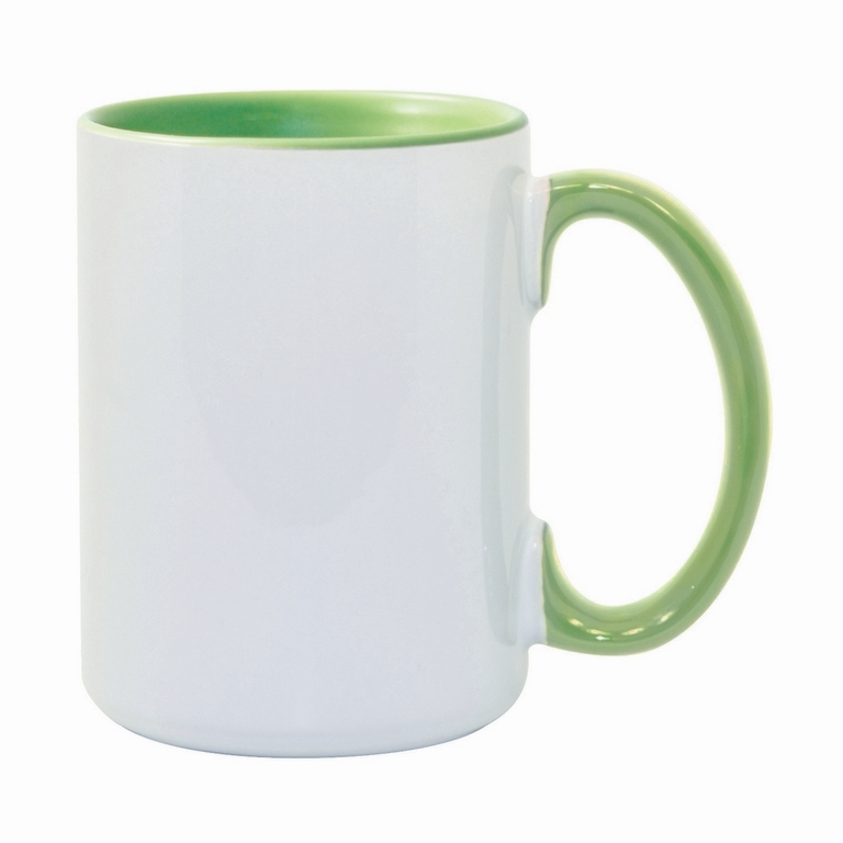 15oz Light Green interior handle Photo Mug