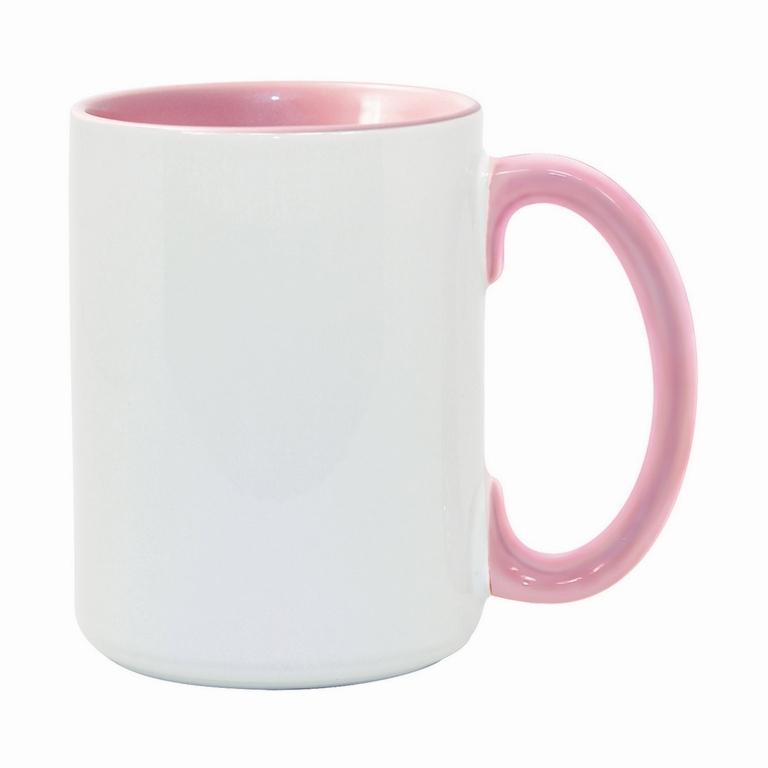 15oz pink interior handle Photo Mug