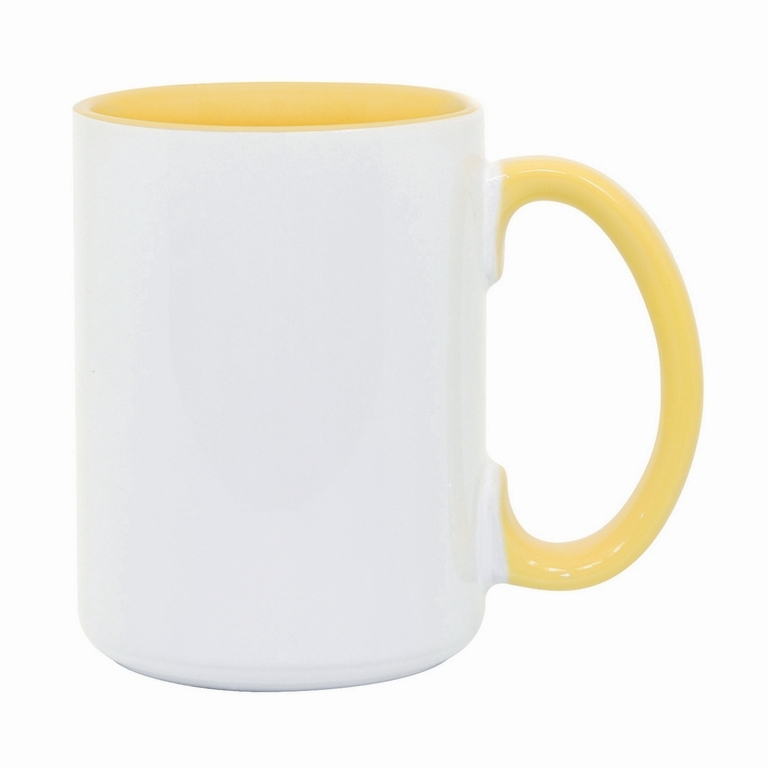 15oz Yellow interior handle Photo Mug